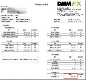 DMM FXの年間損益報告書